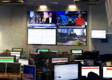 Centrum zarządzania kryzysowego - ściana wizyjna